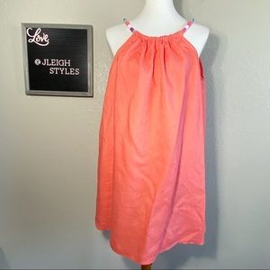 St. Tropez Coral Linen Tunic Beaded Necklace Strap